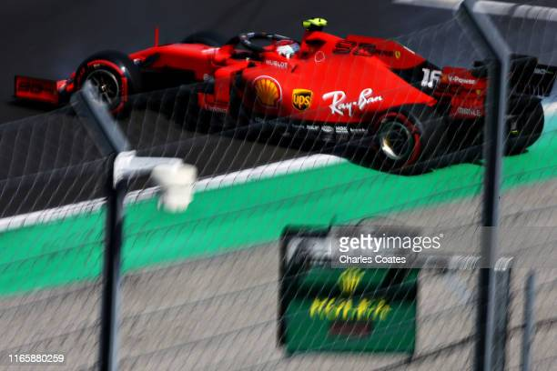 Charles Leclerc of Monaco driving the Scuderia Ferrari SF90 spins on track during qualifying for the F1 Grand Prix of Hungary at Hungaroring on...