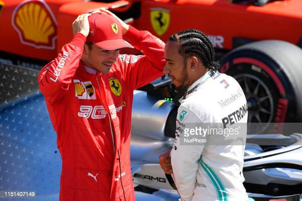 Charles Leclerc of Monaco Scuderia Ferrari Mission Winnow and Lewis Hamilton of Great Britain and Mercedes AMG Petronas F1 Team Mercedes during the...