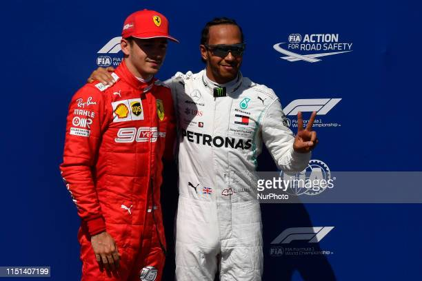 Charles Leclerc of Monaco Scuderia Ferrari Mission Winnow and Lewis Hamilton of Great Britain Mercedes AMG Petronas F1 Team Mercedes during the...