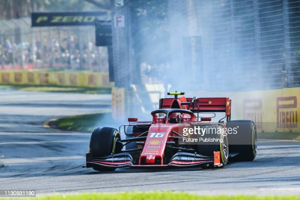 Charles LECLERC of Scuderia Ferrari Mission Winnow locks up a wheel during qualifying on day 3 of the 2019 Formula 1 Australian Grand Prix