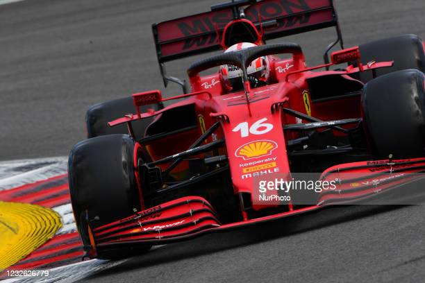 Charles Leclerc of Scuderia Mission Winnow Ferrari drive his SF21 single-seater during free practice of Portuguese GP, third round of Formula 1 World...