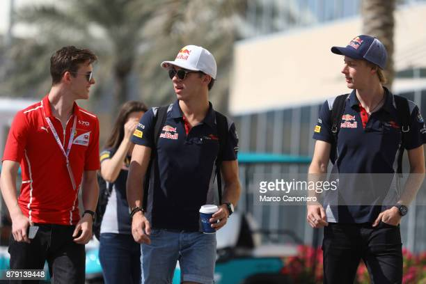 Charles Leclerc Pierre Gasly and Brendon Hartley in the Paddock the Abu Dhabi Formula One Grand Prix