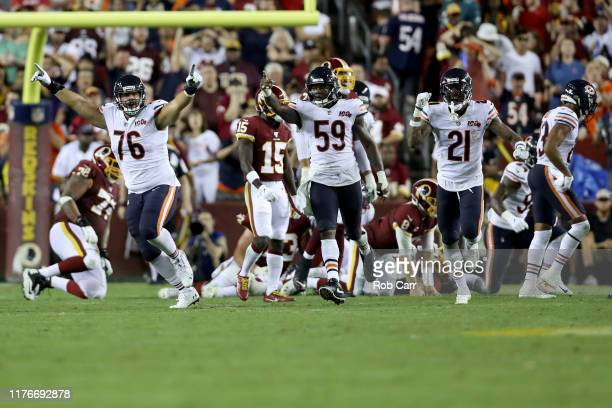 Charles Leno Danny Trevathan and Ha Ha ClintonDix of the Chicago Bears celebrate a defensive fumble recovery in the fourth quarter against the...