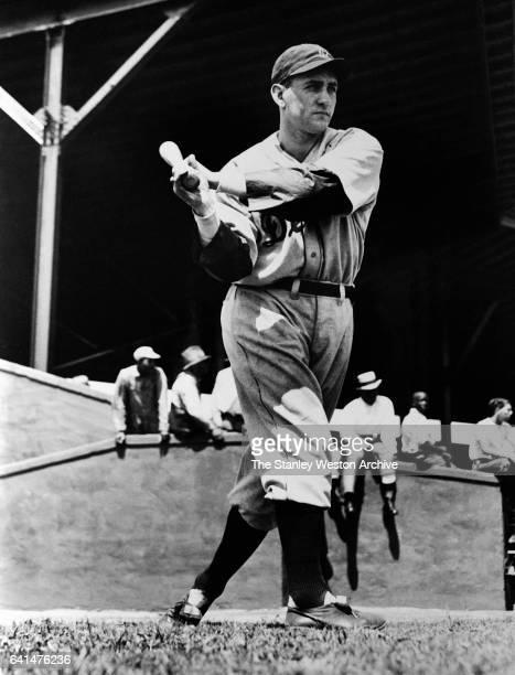 Charles Leonard Gehringer 2nd baseman of the Detroit Tigers swings his bat during training circa 1935