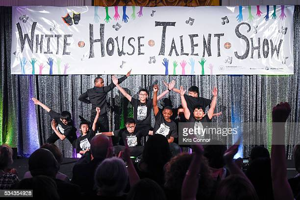 Charles 'Lil Buck' Riley performs with TURNAROUND ARTS DES MOINES including Warren G Harding Middle School during the White House Turnaround Arts...