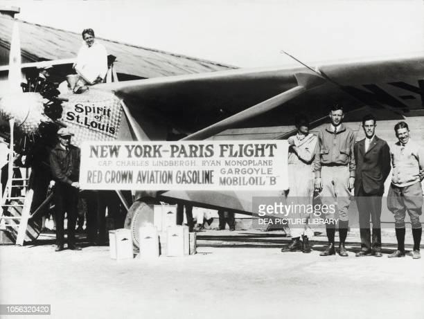 Charles Lindberg and Ryan 'Spirit of St Louis' monoplane before the New York-Paris flight San Diego Airport, United States of America, 20th century.