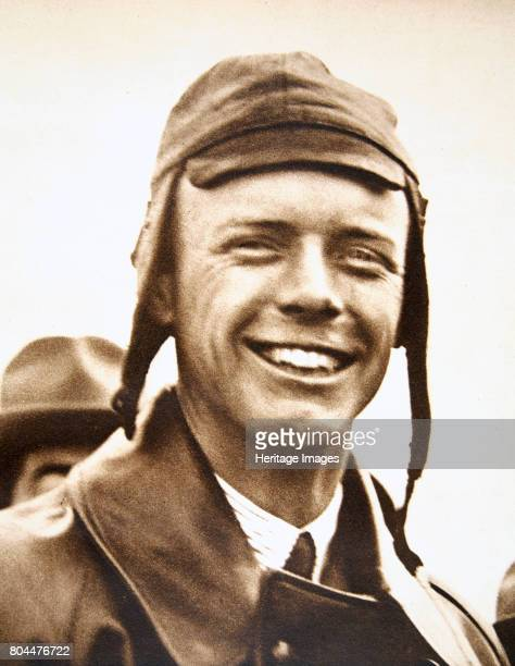 Charles Lindbergh American aviator at Le Bourget Aerodrome Paris France May 1927 Charles Augustus Lindbergh after completing the first successful...