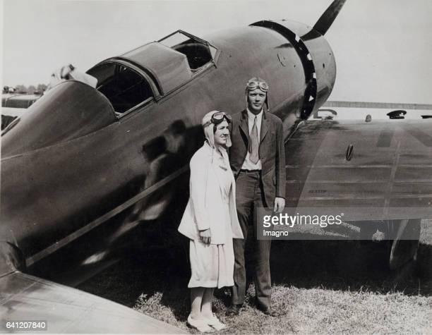 Charles Lindbergh and his wife the author Anne Morrow Lindbergh after thair arrival after the 'National Air Races' Photograph Ca 1930