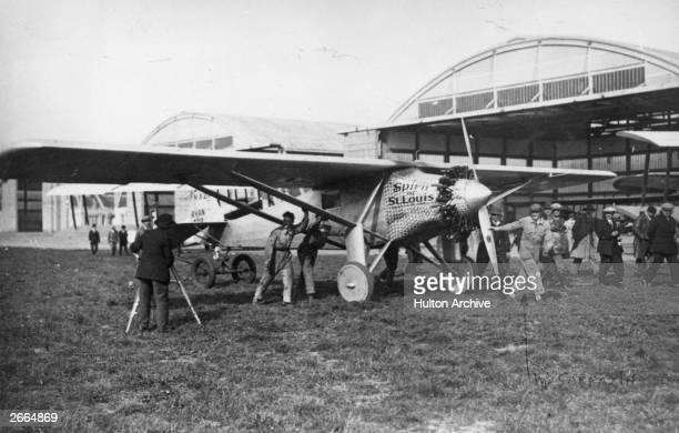 Charles Lindbergh arriving at Le Bourget near Paris in his Ryan 'Spirit Of St Louis'