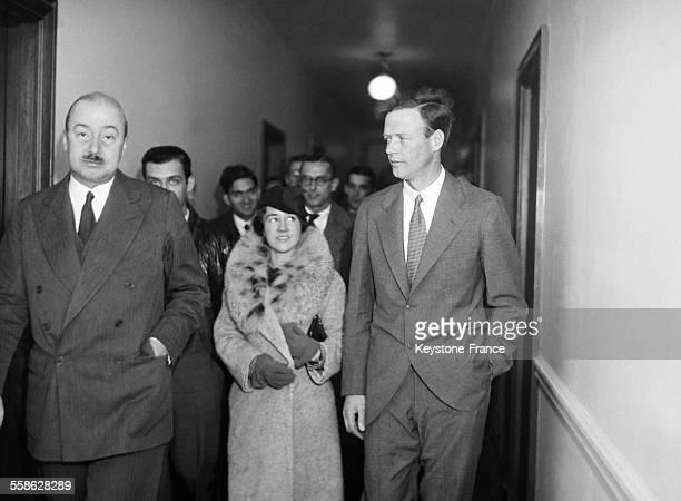 Charles Lindbergh et sa femme Anne Morrow Lindbergh a l'ambassade americaine en 1933 a Paris France