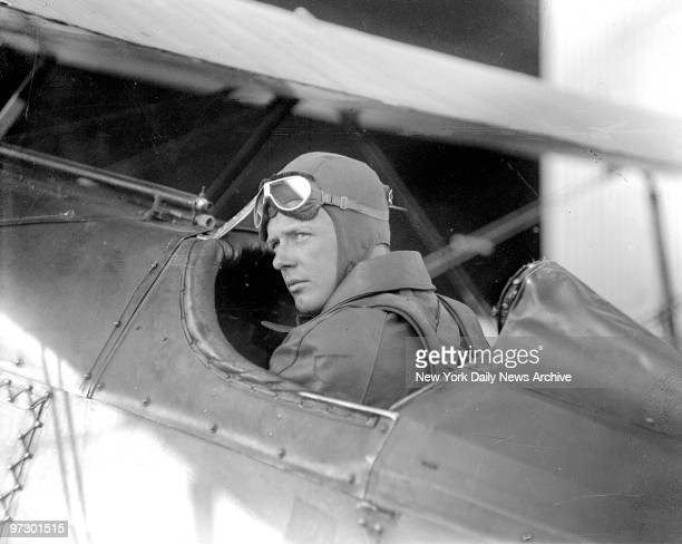 Charles Lindbergh in the cockpit of a plane