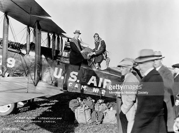 Charles Lindbergh loads his first sack of airmail in April 1926 He was to crash this same plane some five months later