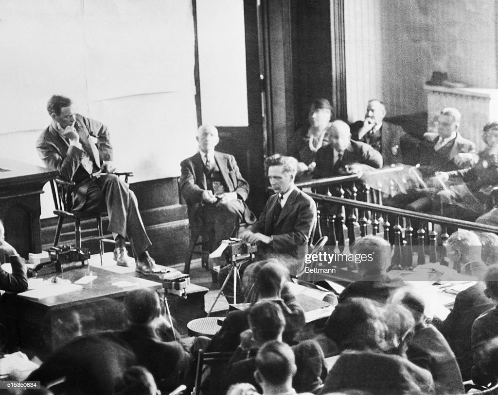 Charles Lindbergh on the witness stand where he read ransom notes which were introduced as evidence during the trial of Bruno Richard Hauptmann, who is on trial for the 1932 kidnapping and death of Lindbergh's son, Charles A. Lindbergh Jr.