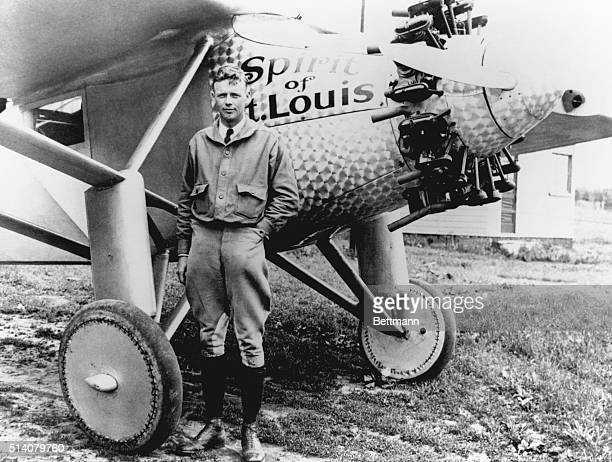 Portrait of Aviator Charles Lindbergh with Spirit of St Louis