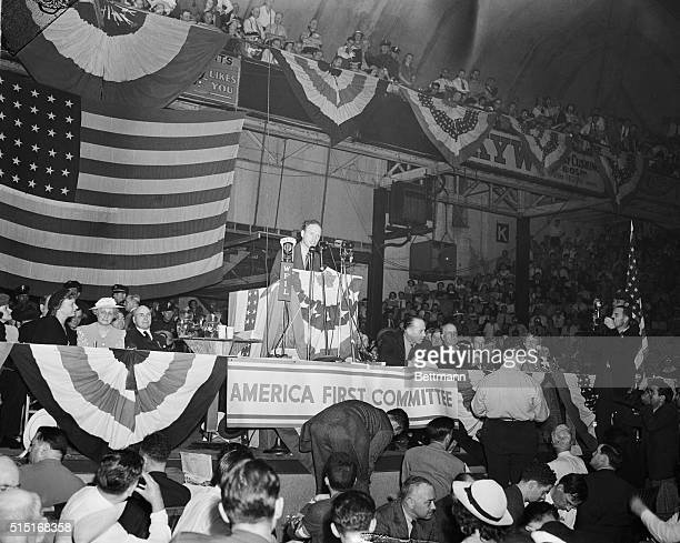 Charles Lindbergh Speaking at a Rally