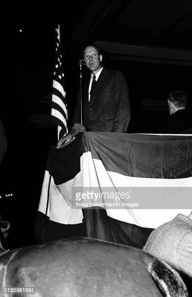 Charles Lindbergh the spokesperson of the America First Committee speaks during the rally on October 30, 1941 at Madison Square Garden in New York,...