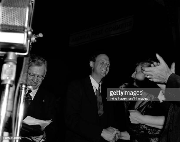 Charles Lindbergh the spokesperson of the America First Committee speaks to novelist Kathleen Norris during the rally on October 30, 1941 at Madison...
