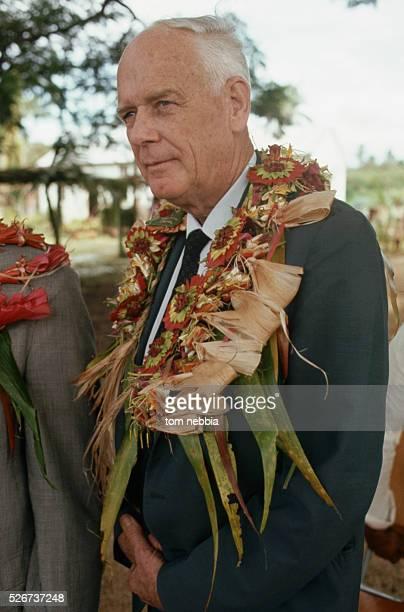 Charles Lindbergh Wearing Tongan Lei