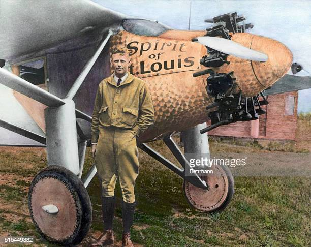 Charles Lindbergh with the Spirit of St Louis