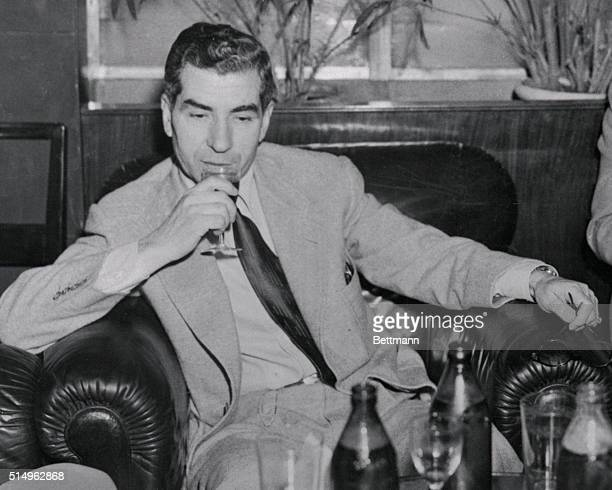 Charles Lucky Luciano deported New York Vice Lord pensively gives mental review to his life and crimes as he relaxes in Rome's plush Excelsior Hotel...