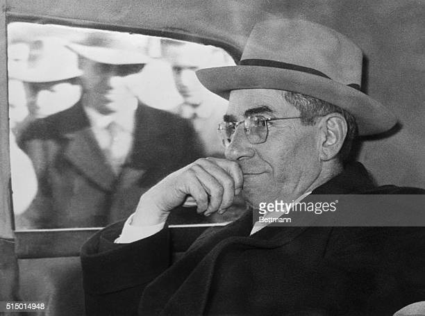 Charles Lucky Luciano former New York vice king who was deported from the US during the war years is shown in his car after a special government...