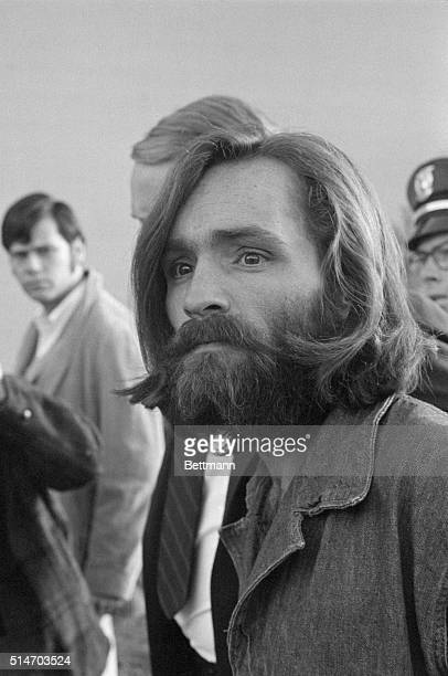 Charles Manson arrives at Inyo County Courthouse in Independence California for a preliminary hearing on charges of arson and receiving stolen goods...