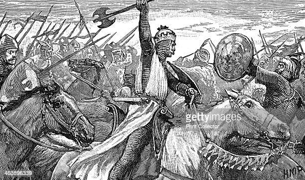 Charles Martel King of the Franks at the Battle of Poitiers 732 Charles Martel depicted wielding a battleaxe Founder of the Carolingian dynasty and...