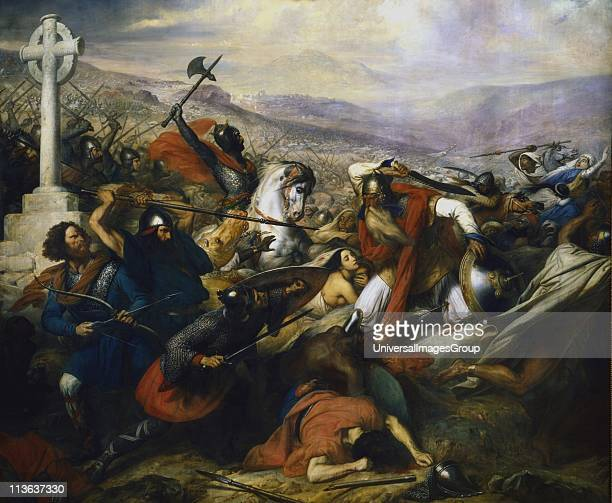 Charles Martel the Hammer founder of the Carolingian dynasty and grandfather of Charlemagne Battle of Poitiers at which Martel stopped the advance of...
