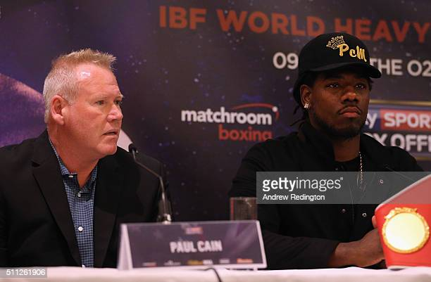 Charles Martin and his trainer Paul Cain talk to the media during the Anthony Joshua and Charles Martin Press Conference at The Dorchester hotel on...
