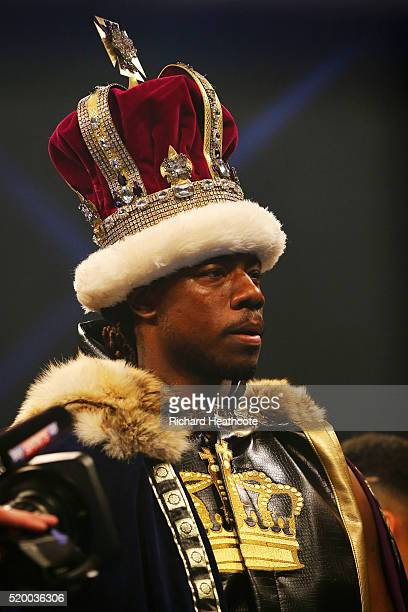 Charles Martin of the United States enters the arena before the IBF World Heavyweight title fight against Anthony Joshua of England at The O2 Arena...