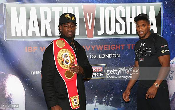 Charles Martin of the USA and Anthony Joshua of England are pictured together during the Anthony Joshua and Charles Martin Press Conference at The...