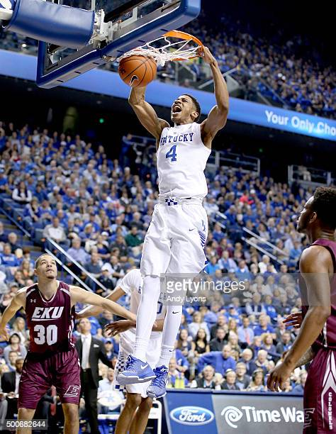 Charles Matthews of the Kentucky Wildcats dunks the ball during the game against the Eastern Kentucky Colonels at Rupp Arena on December 9 2015 in...