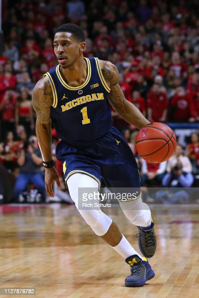 Charles Matthews of the Michigan Wolverines in action against the Rutgers Scarlet Knights during a game at Rutgers Athletic Center on February 5 2019...