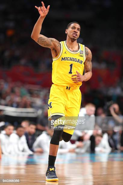 Charles Matthews of the Michigan Wolverines reacts after a play in the first half against the Loyola Ramblers during the 2018 NCAA Men's Final Four...