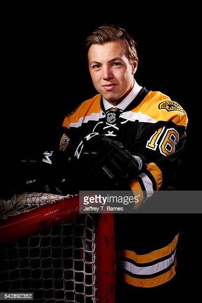 Charles McAvoy poses for a portrait after being selected 14th overall by the Boston Bruins in round one during the 2016 NHL Draft on June 24 2016 in...