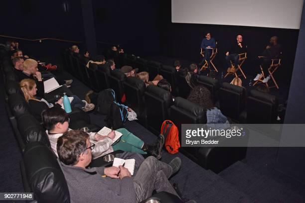 Charles Melcher Glen Keane and Kobe Bryant speak during the Dear Basketball screening and QA at The Landmark at 57 West on January 8 2018 in New York...