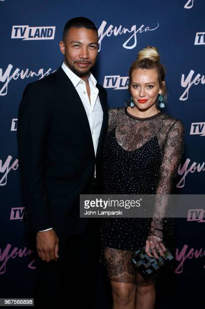Charles Michael Davis and Hilary Duff attend 'Younger' season 5 premiere party at Cecconi's Dumbo on June 4 2018 in Brooklyn New York
