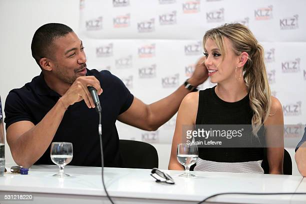 Charles Michael Davis and Riley Voelkel attend The Vampire Diaries The Originals Press Conference for the Bloody Night Convention on May 13 2016 in...