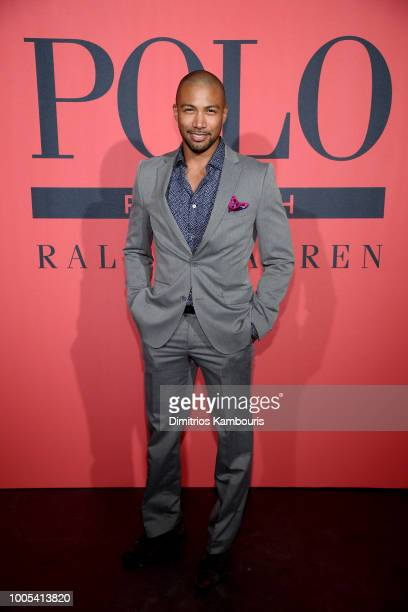 Charles Michael Davis attends the Polo Red Rush Launch Party with Ansel Elgort at Classic Car Club Manhattan on July 25 2018 in New York City