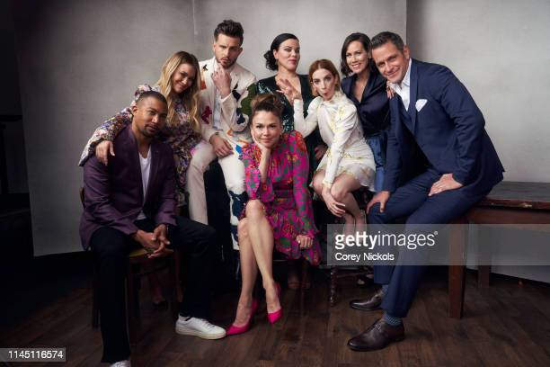 Charles Michael Davis Hilary Duff Nico Tortorella Sutton Foster Debi Mazar Molly Bernard Miriam Shor and Peter Hermann of the series 'Younger' poses...