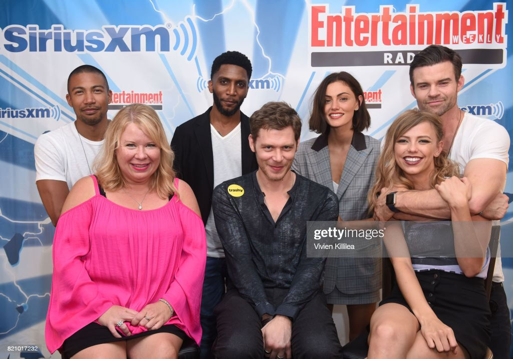Charles Michael Davis, Julie Plec, Yusuf Gatewood, Joseph Morgan, Phoebe Tonkin, Riley Voelkel and Daniel Gillies attend SiriusXM's Entertainment Weekly Radio Channel Broadcasts From Comic Con 2017 at Hard Rock Hotel San Diego on July 22, 2017 in San Diego, California.
