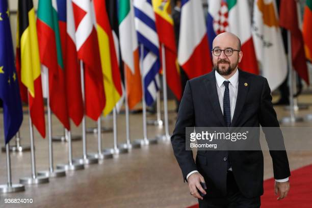 Charles Michel Belgium's prime minister arrives for a summit of European Union leaders in the Europa Building in Brussels Belgium on Friday March 23...