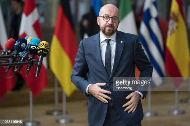Charles Michel Belgium's prime minister departs after making a statement to the media as he arrives for a European Union leaders summit in Brussels...
