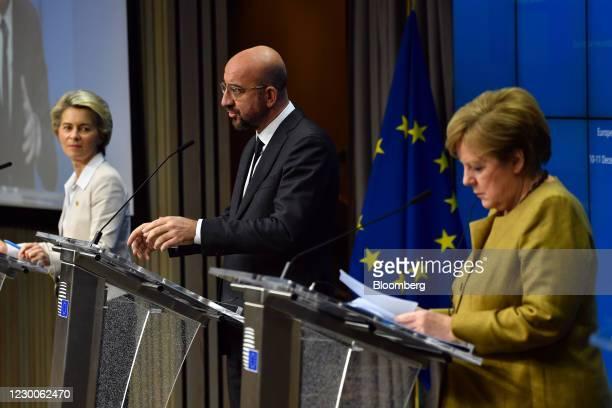 Charles Michel, president of the European Council, center, speaks flanked by Ursula von der Leyen, president of the European Commission, left, and...