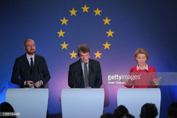 Charles Michel , President of the European Council, David Sassoli , President of the European Parliament, and Ursula von der Leyen, President of the...