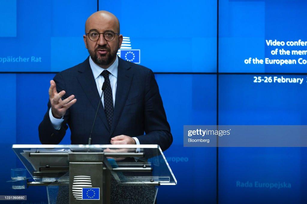 European Commission PresidentUrsula von der Leyen News Conference Following EU Leaders Meeting : News Photo