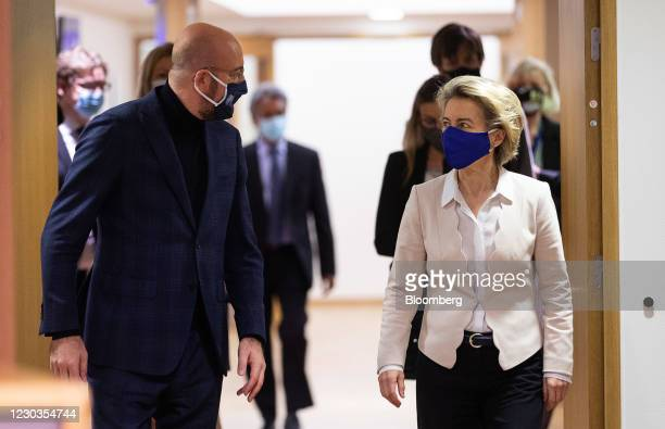 Charles Michel, president of the European Council, left, and Ursula von der Leyen, European Commission president, arrive to sign the Brexit trade and...