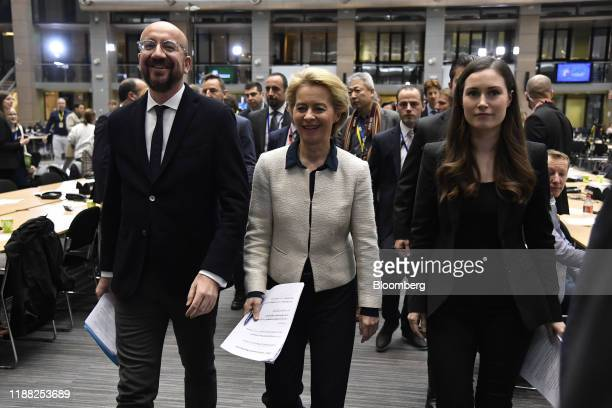 Charles Michel president of the European Union left Ursula von der Leyen president of the European Commission center and Sanna Marin Finland's prime...