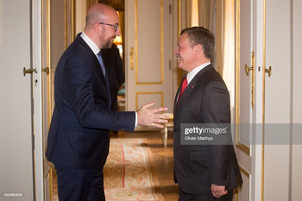 Charles Michel, Prime Minister of Belgium and King Abdullah II of Jordan pose for the official photo at the Royal Palace in Brussels.