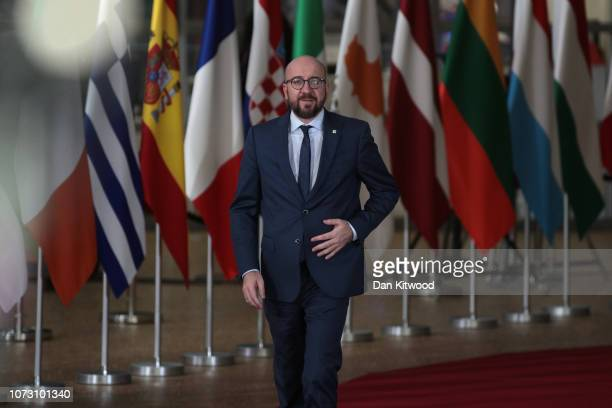 Charles Michel Prime Minister of Belgium arrives at the European Council during the two day EU summit on December 14 2018 in Brussels Belgium Mrs May...